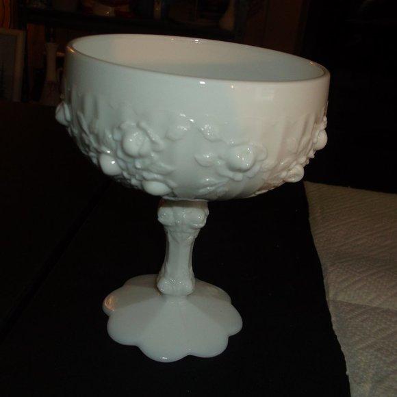 vintage milk glass pedestal dish